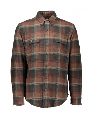 Filson Vintage Flannel Work Shirt - Chocolate / Green / Tan