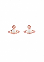 Iris Bas Relief Earrings - Pink Gold / Pale Pink