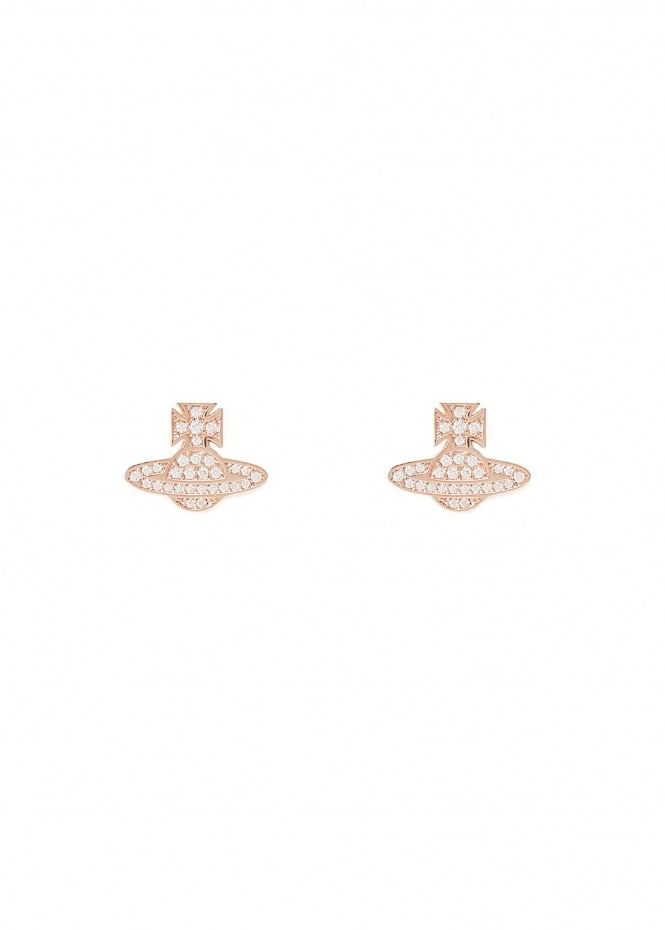 Romina Pave Orb Earrings - Pink Gold