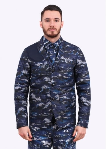 Barbour Wave Lapel Jacket - Navy Wave Print