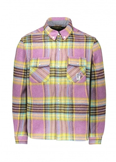 Billionaire Boys Club Wool Check Shirt - Purple
