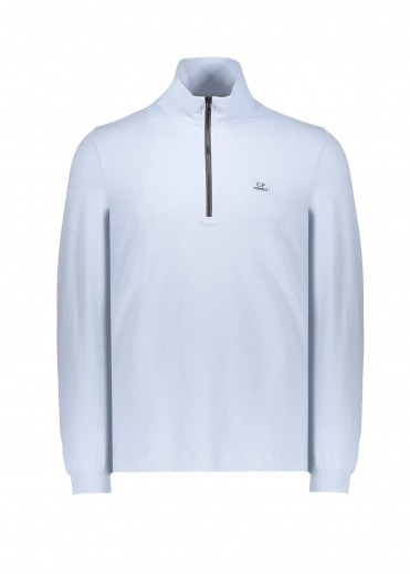 C.P. Company Zip Long Sleeve Polo - Blue