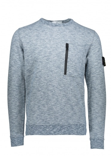 Stone Island Zip Pocket Sweat - Avio Blue