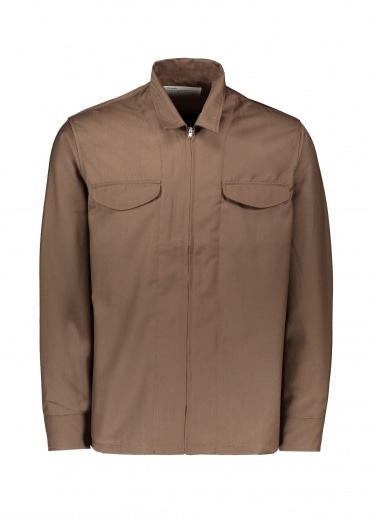 Uniform Bridge Zip Up Shirts Jacket - Brown